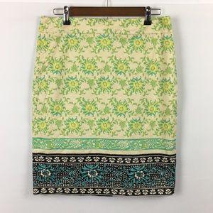 Ann Taylor Yellow Flower Pencil Skirt Size 8
